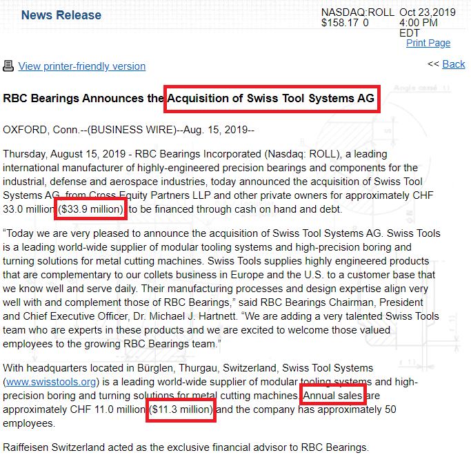 RBC BEARINGS ACQUISITION SWISS TOOLS